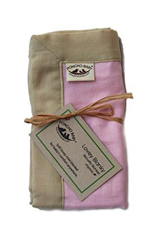 Poncho Baby Organic Security Blanket, Lovey Blanky, Pink/Beige
