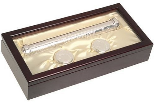 Stephan Baby Satin-Lined Rosewood Keepsake Box with Silver Plated Birth Certificate Holder, First Tooth and First Curl Boxes NewBorn, Kid, Child, Childern, Infant, Baby (Birth Certificate Holder Silver Plated)