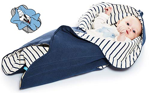 - Wallaboo Baby Blanket Fleur, Supersoft 100% Cotton, Newborn, For Pram, Moses Basket or Crib and Travel, Receiving Blanket in Flower shape. Size 34 x 34inch, Color: Blue Stripe