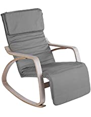 Rocking Relax Chair, Comfortable Adjustable Rocking Lounge Chair Recliner Modern Home Office Furniture with Cotton Fabric Cushion for Living Room, Bedroom and Indoor(Grey)