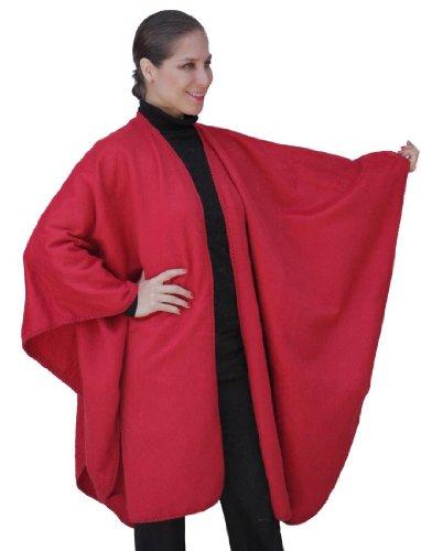 Fine Woven Alpaca Wool Cape Ruana Poncho Wrap One Size (Red)