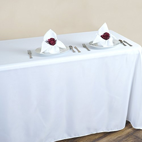 Efavormart 90x132 White Wholesale Rectangle Polyester Round Corner Tablecloth Linen Wedding Party Restaurant Tablecloth -