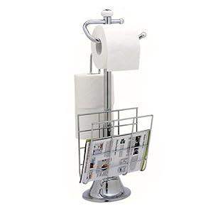 standing chrome magazine rack toilet paper tissue holder stand bathroom organize. Black Bedroom Furniture Sets. Home Design Ideas