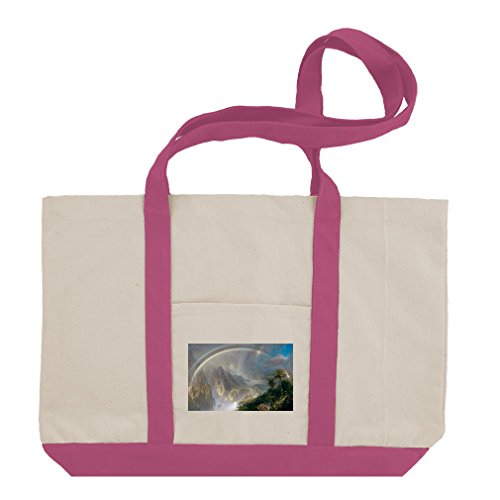 Rainy Season The Tropics #2 (Church) Cotton Canvas Boat Tote Bag - Hot Pink by Style in Print