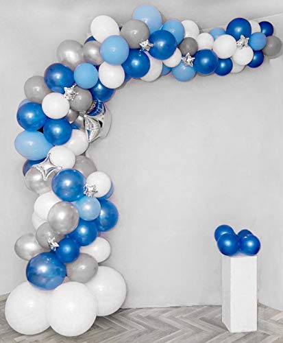 Balloon Garland Arch Kit Blue and White Silver 16Ft Long 100pcs Balloons Pack For Boy Baby Shower Birthday Party Centerpiece Backdrop Background Decorations]()