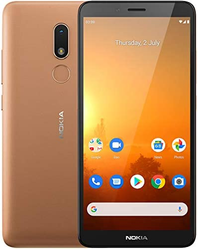 Nokia C3 Android 10 Smartphone with 2GB RAM 16GB Storage, All-Day Battery and Fingerprint Sensor – Sand