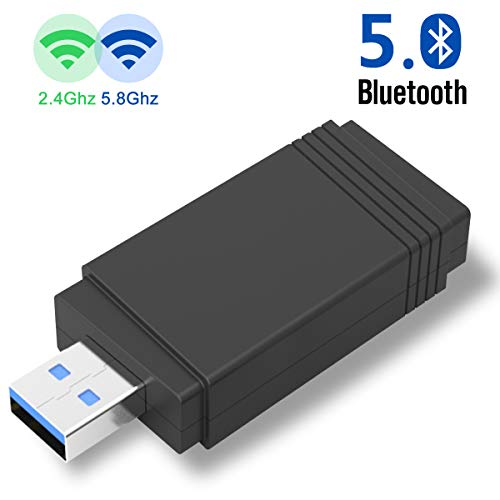 YEHUA USB WiFi Adapter 1200Mbps USB 3.0 Bluetooth 5.0 WiFi Dongle Dual Band 2.4G/5G MU-MIMO Wireless Network Adapter for PC/Desktop Windows XP/Vista/7/8/10 Linux Mac
