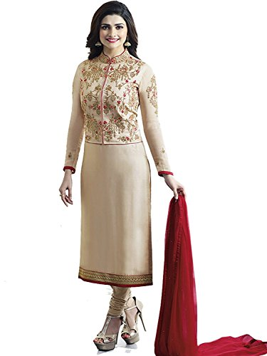 Cream Satin Dress (Ready Made Cream Georgette Embroidered India Pakistan Long Straight Churidar Salwar Suit With Elegnat Banglori Satin Jacket (Customize Stitched))