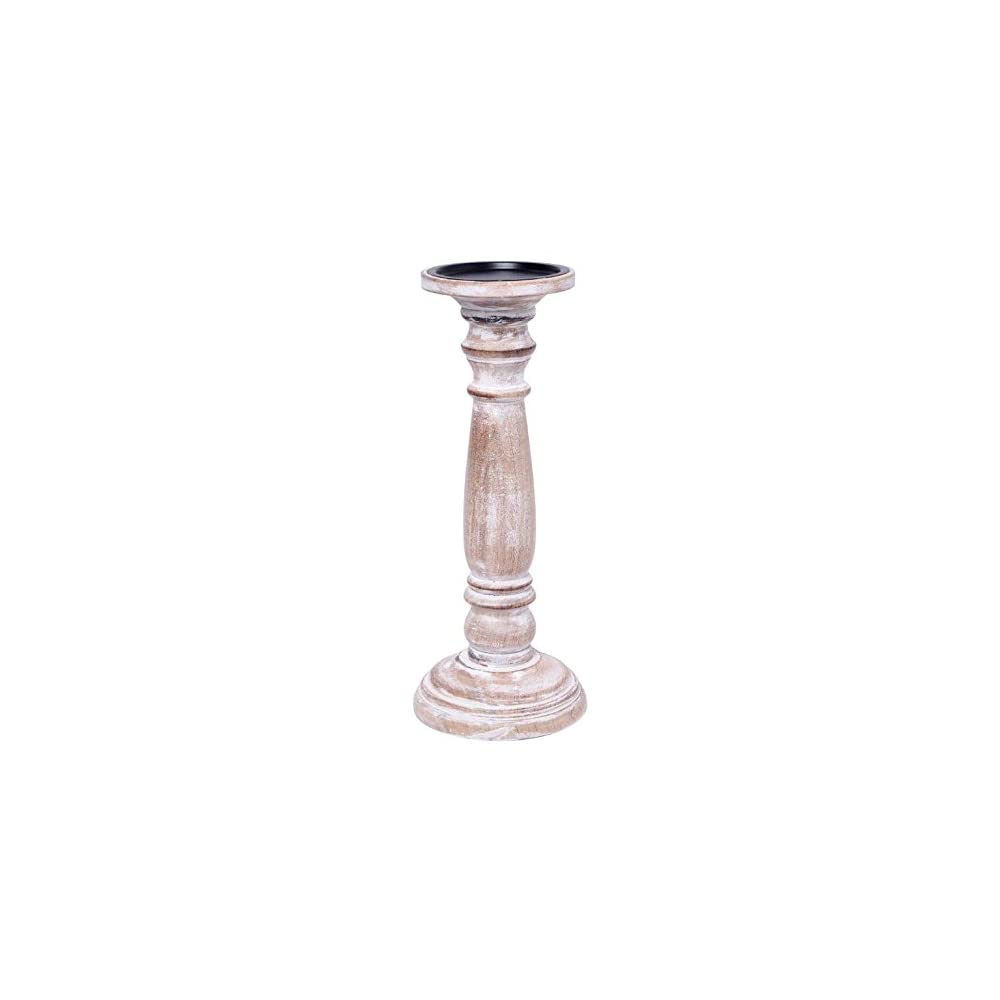 Hosley 12 Inch High Wood Pillar Distress Finish Candleholder. Ideal Gift for Wedding, Party, Home, Spa, Reiki…