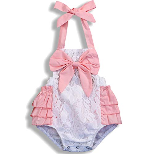 Newborn Baby Girl Toddler Lace Cotton Romper Pink Ruffles Bodysuit Outfit Clothes Set (3-6Months, Pink)