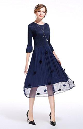Cotylédons Women`s Robes De Maille Formelles Encolure Dégagée Manches 3/4 Haute Maxi Robe Couleur Unie Taille Bleu Foncé