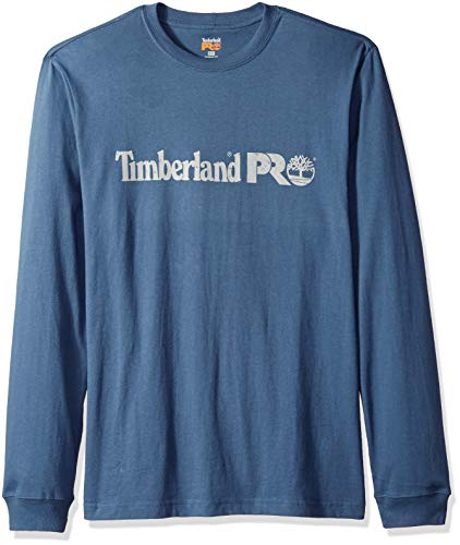 Long Sleeve Core Shirt (Timberland PRO Men's Cotton Core Long-Sleeve T-Shirt with Logo, Vintage Indigo, S)