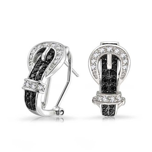 Black White Cubic Zirconia Pave CZ Belt Buckle Stud Drop Earrings For Women Omega Back 14K Gold Plated Brass