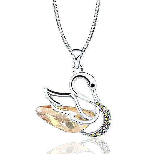 (OSIANA Swan Pendant Necklace Jewelry Gift with Crystal from Swarovski Elements Platinum-Plated,18