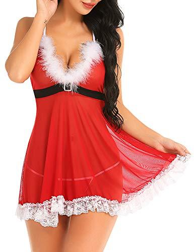 Hot Lingerie Models (Gladiolus Women's Christmas Lingerie Red Babydoll Lace Santa Dress Chemise Set)