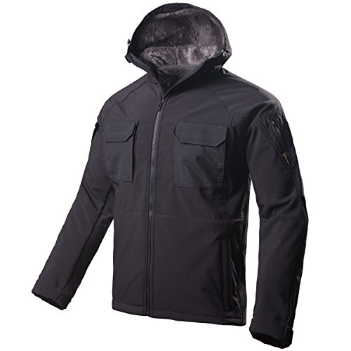 FREE SOLDIER Windproof Mountain Outdoor Hooded Softshell Jacket Fleece Lined Snowboarding Ski Jacket(Black L)