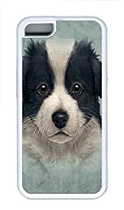iPhone 5C Case and Cover Kids Border Collie Puppy PC hard Silicone Rubber Case Cover for iPhone 5 and iPhone 5C White