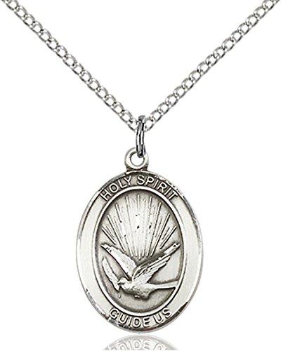Sterling Silver Holy Spirit Medal Pendant, 3/4 Inch Holy Spirit Medal