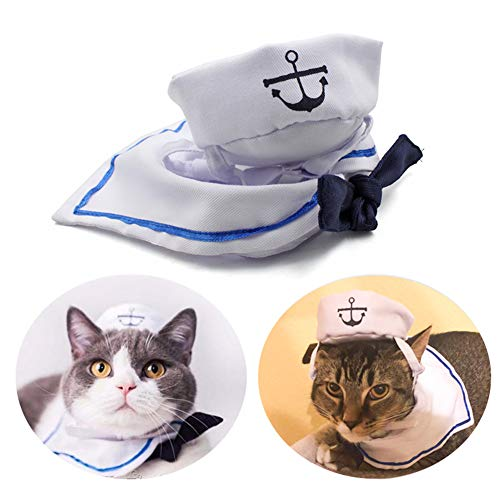 Halloween Outfits For Cats (Enjoying Pet Sailor Party Costume Adjustable Tie Collar Navy Dog Hat Cat Sailor Outfit for Halloween,)
