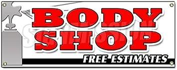BODY SHOP FREE ESTIMATES BANNER SIGN collision repair insurance paint