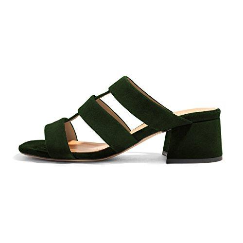 Ydn Donna Open Toe Block Sandali Con Tacco Basso Slip On Straps Pumps Casual Mules Shoes Verde Scuro