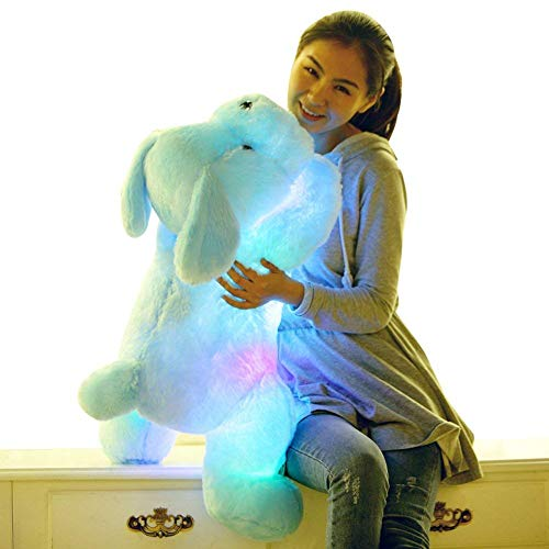 WENHSIN 20 Inches Teddy Dog Luminous Plush Toys Glowing Plush Stuffed Puppy Pillow Children Party Birthday Creative Gift (Blue) from WENHSIN