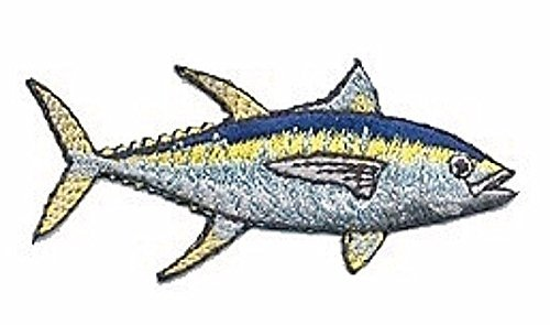 Embroidered patch- Patches for Women Man- Cool patches- Realistic Yellow Fin Tuna Game Trophy Fish Embroidery Fishing Patch