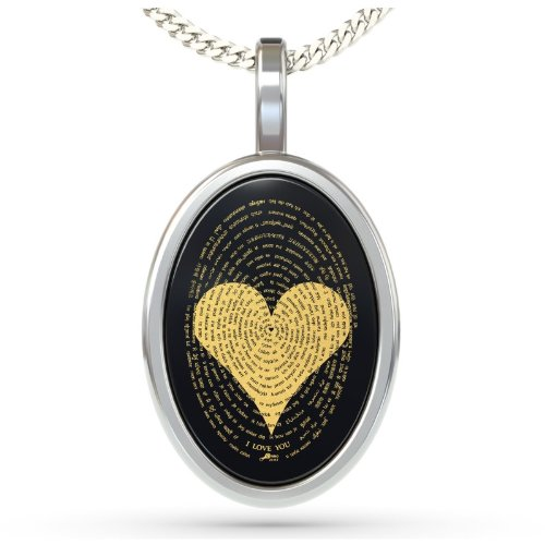 925 Sterling Silver Love Necklace Inscribed with I Love You in 120 Languages on Onyx Pendant, 18'' Chain by Nano Jewelry (Image #2)