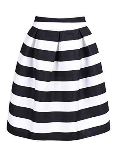 (Choies Women's Black and White Stripe High Waist A-line Knee Length Skirt S)