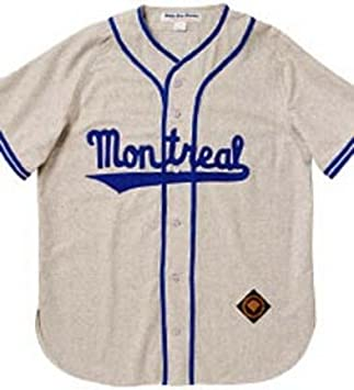 0e9a6ed76 1946 Montreal Royals Throwback Authentic Road Flannel Jersey (Sizes  3XL-5XL) with  9 from Ebbets Field Flannels