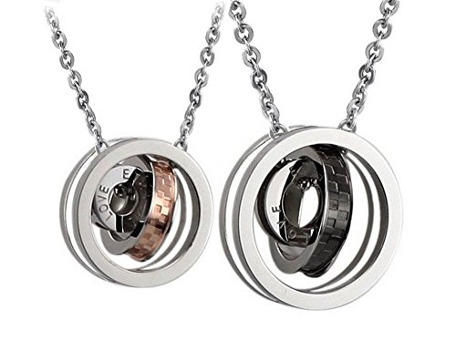 His and Hers Matching Necklace Pendant Set Eternal Love Interlocking Circles Stainless ()