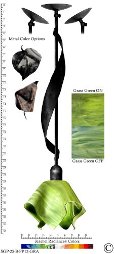 Jezebel Radiance® Sweetgrass Pendant. Hardware: Black. Glass: Grass Green, Flame Style