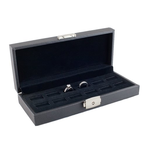 Caddy Bay Collection Wide Slot Jewelry Ring Display Storage Case Holds 12 Rings with Lock- CBC 12