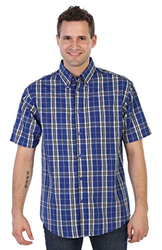 Gioberti Men's Plaid Short Sleeve Shirt, Royal Blue/Navy Lines/White Contrast, ()