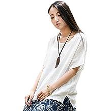 Soojun Women's Casual Loose Short Sleeve Round Collar Cotton Linen Shirt Blouse Tops