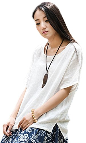 Soojun Women's Casual Loose Short Sleeve Round Collar Cotton Linen Shirt Blouse Tops, Style 1-white, One Size (Linen Blouse White)