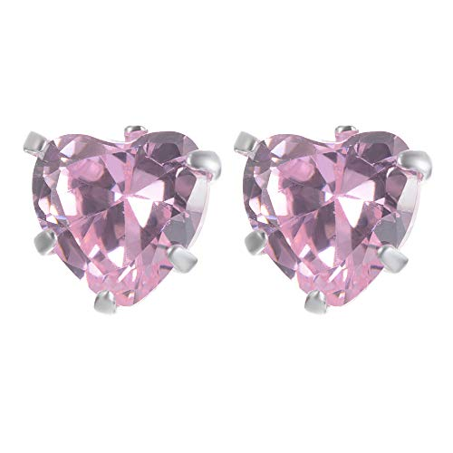 - Yves Renaud Sterling Silver 0.2 Inch Prong Set Pink Austrian Crystal Love Heart Stud Earrings - Hypoallergenic Fashion Jewelry for Women, Girls - Romantic Gift Idea for Her