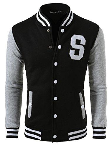 Allegra K Men Long Sleeve Letter Pattern Button Front Baseball Jacket Small Black Light Gray - Football Jacket