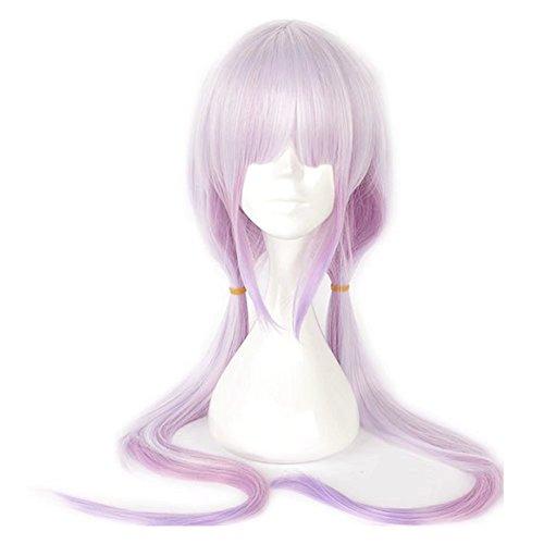 Kadiya Long Straight Gradient Purple 2 Plaits Cartoon Comic Con Halloween Cosplay Wig with Flat -