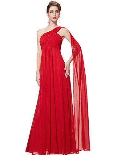 Ever-Pretty Womens Floor Length Ruched Bust Long Bridesmaid Dress 8 US Vermillion