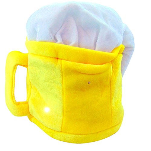 Oktoberfest Light Up Beer Hat Flashing German Stein Mug 11 Inch Head (Flashing Beer Mug)
