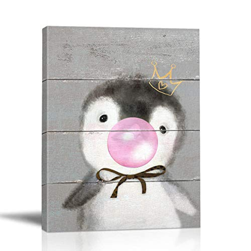 - BOLUO Cute Baby Animals Wall Art Painting Framed Canvas Painting Blowing Bubbles Penguin Rabbit Bear Alpaca Prints Pictures Nursery Children Kids Room Decor 12x16in (Penguin)