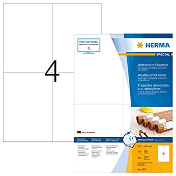 Image of All-Purpose Labels HERMA Extremely Strong Adhesive Heavy Duty Weatherproof Paper Labels, 4 Labels Per A4 Sheet, 400 Labels, 105 x 148 mm (4377)
