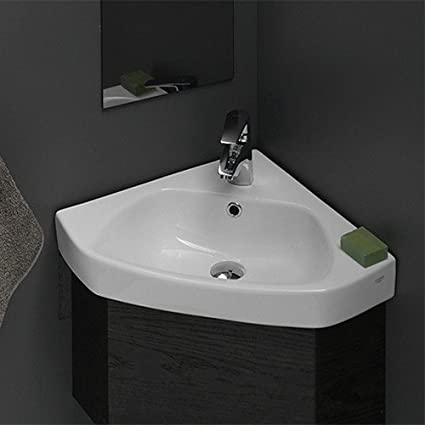 cerastyle 001900 u one hole arda corner ceramic self rimmingwall mounted bathroom - Wall Mount Bathroom Sink
