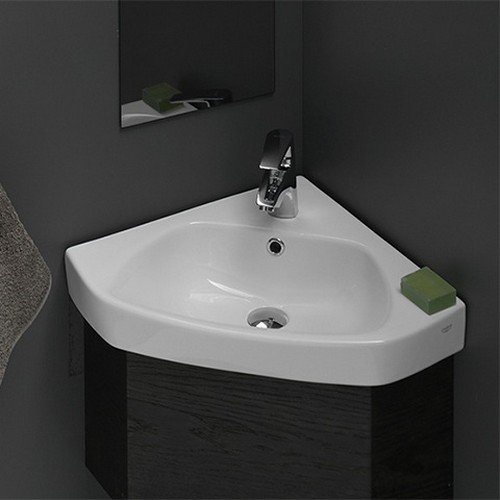 - CeraStyle 001900-U-One Hole Arda Corner Ceramic Self Rimming/Wall Mounted Bathroom Sink, White