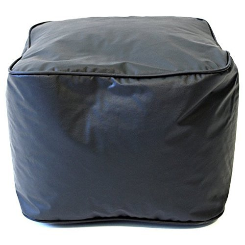 Single Piece Bright Black Home Decor Leather Look Ottoman, Modern Contemporary Style, 250-Pound Weight Capacity, Double Stitched, Ideal For Foot Rest And Extra Seat
