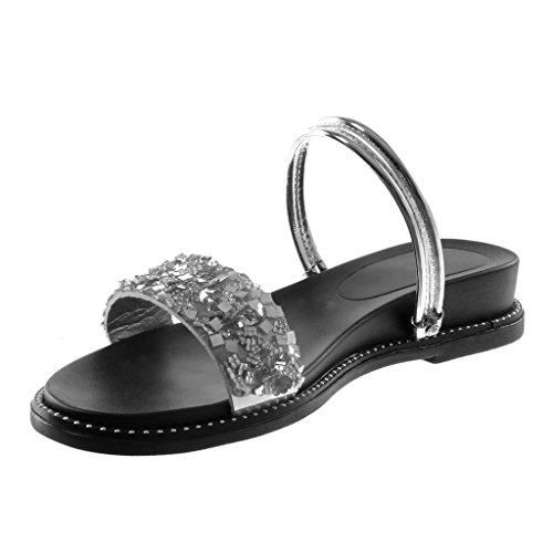 3 on Slip Multi Brillantes Angkorly Sandalias Plata correa Plataforma Strass Zapatillas Cm Mujer Moda qyytPI