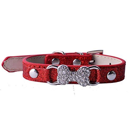 Red Pet Online Pet Collar Rhinestone Bone Decoration pu Leather Dog collarred