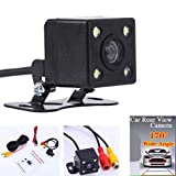 Glumes Universal Car Backing Camera - 170°, 4 LED, Night Vision, Color CCD, Waterproof, Multi-Function Car Reversing Rear View/Side View/Front View (Black)