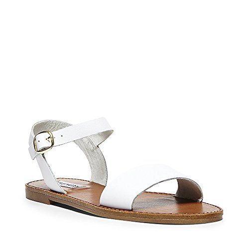 White Leather Strap Sandal - Steve Madden Women's DONDDI Sandal, White Leather, 9.5 M US
